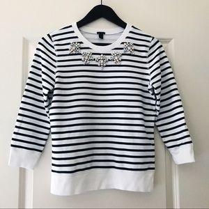 J.Crew Jeweled Sweatshirt in Stripe XS